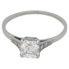 1920s Art Deco Asscher Cut Diamond Ring in Platinum