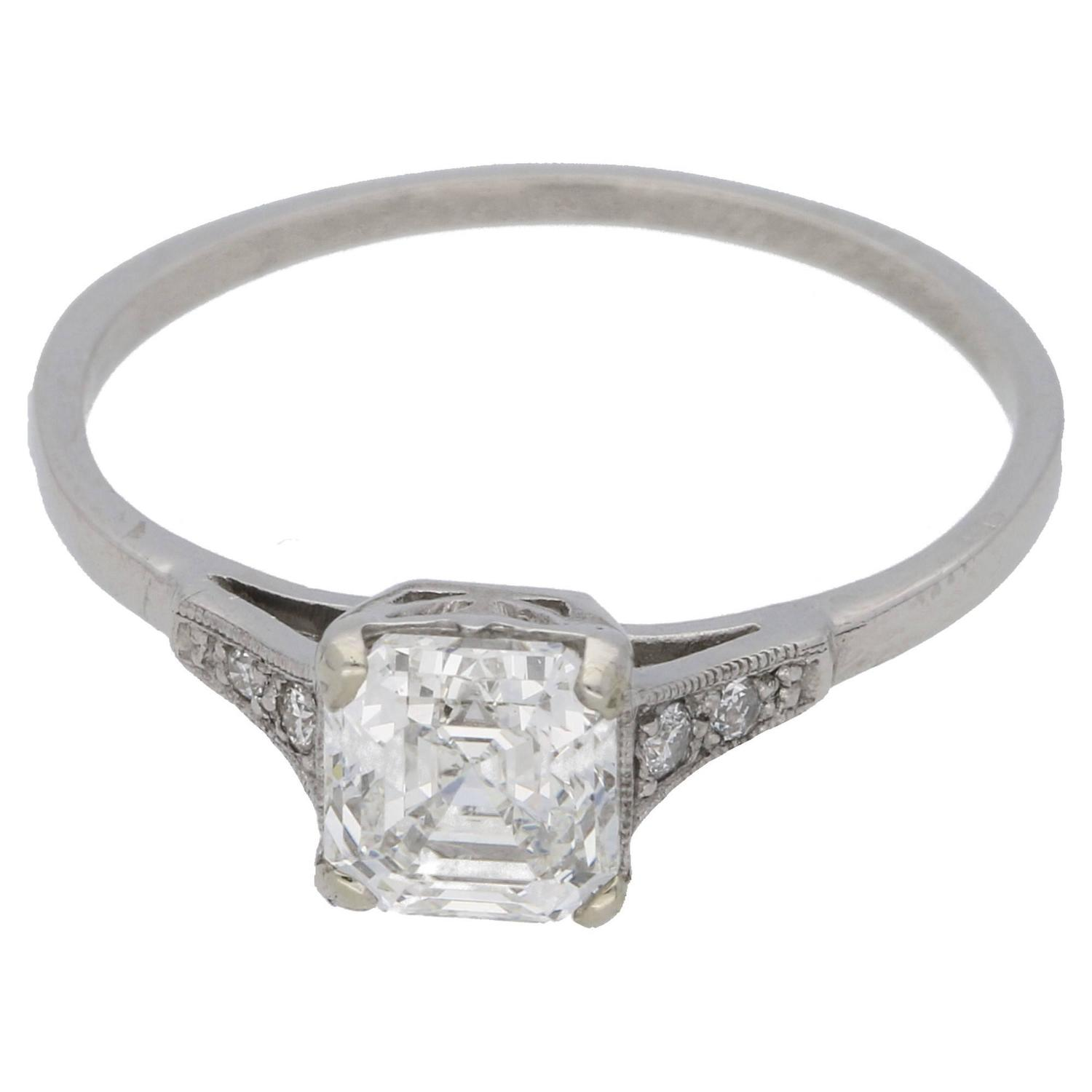 anye on rush white asscher ct engagement ring rings diamond vintage cut inspired gold