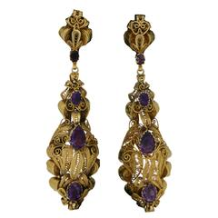 Georgian Amethyst Cannetille Gold Drop Earrings