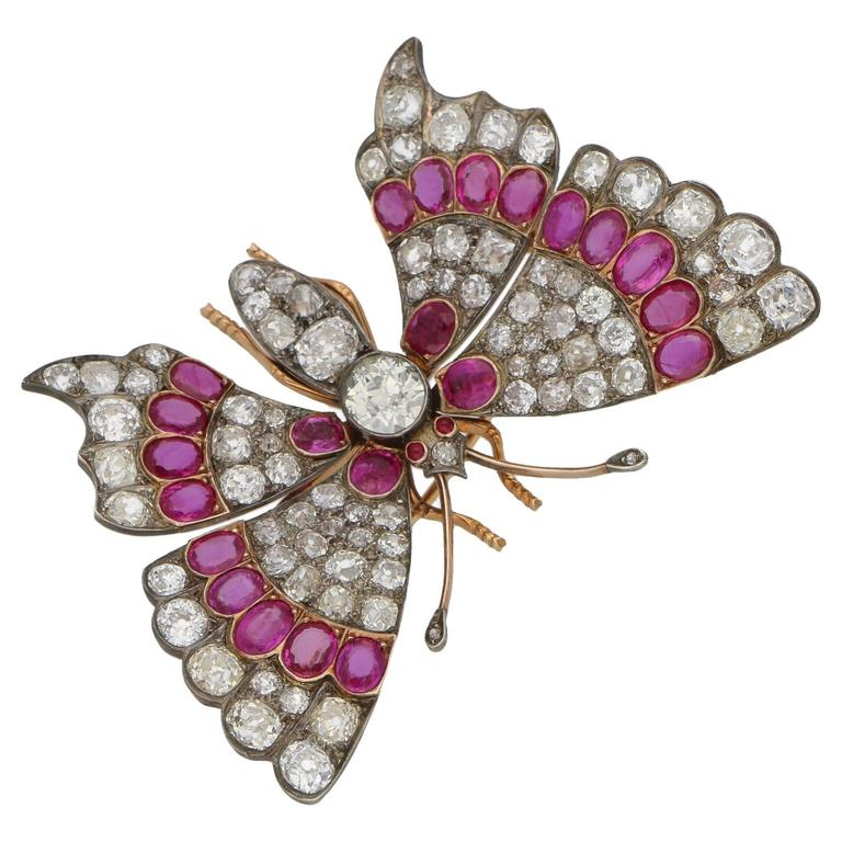 Victorian Ruby Diamond Butterfly Brooch