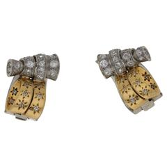 1930s Drayson Ear Clips with Diamond in Platinum