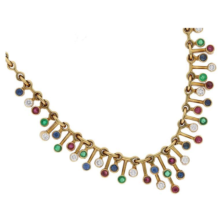 1940s Tiffany Rare Multi Gem Set Necklace in Gold