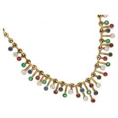 1940s Tiffany Rare Multi Gem Set Necklace in Gold