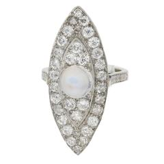 Art Deco Moonstone Diamond Platinum Marquise Ring