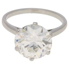 4.24 Carat Single Stone Diamond Ring in Platinum