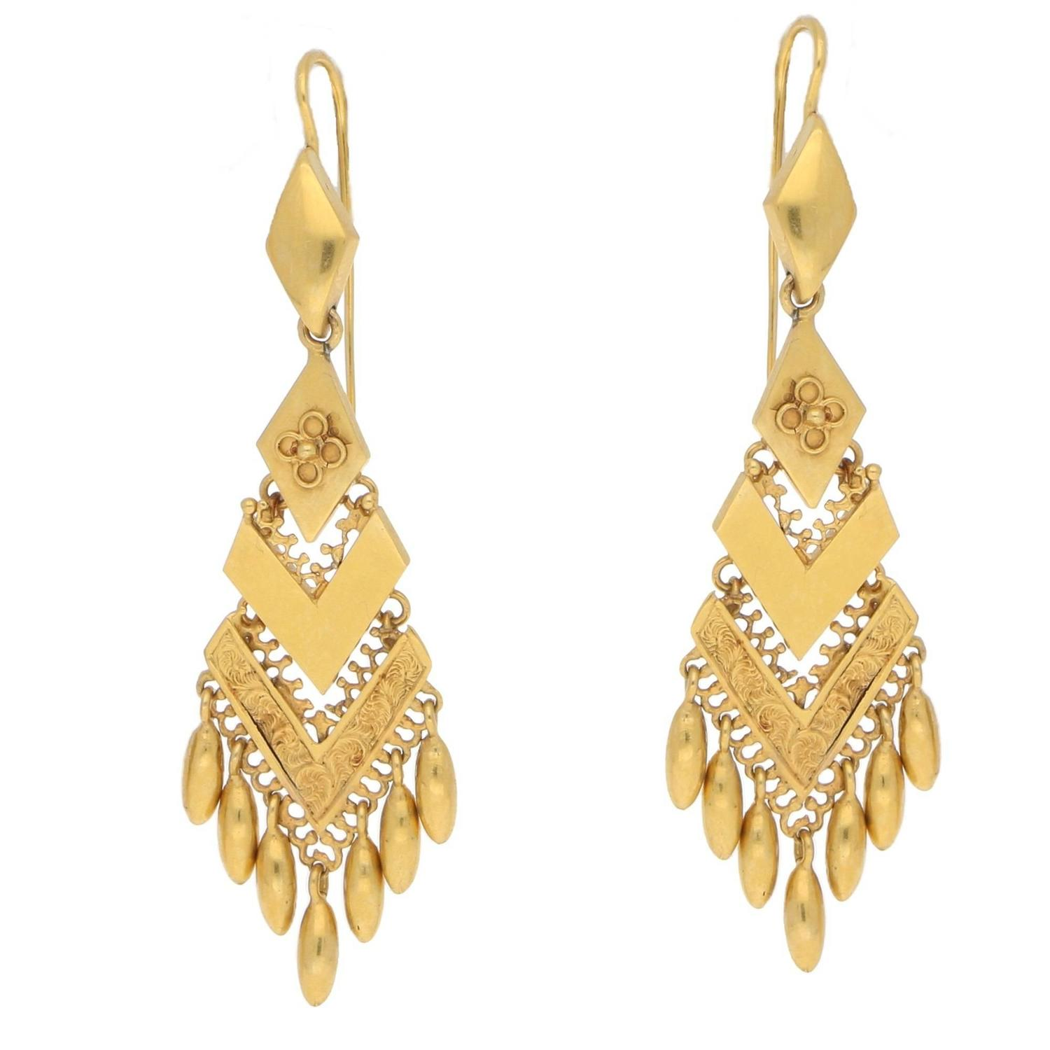 victorian yellow gold etruscan drop earrings for sale at 1stdibs
