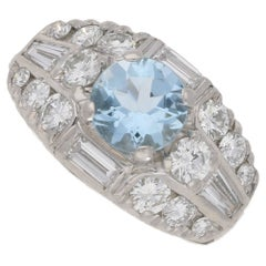 Art Deco Aquamarine and Diamond Bombe Cocktail Ring in Platinum