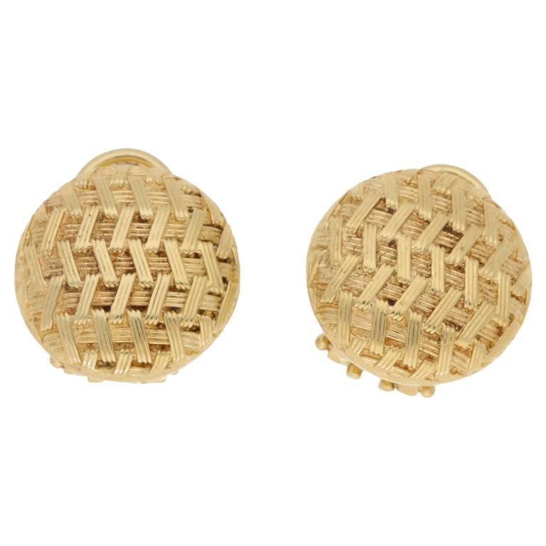 1980s Tiffany & Co. Basket Weave 18 Karat Gold Earrings