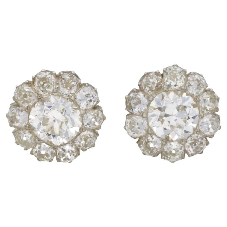 6 Carat Victorian Diamond Cer Stud Earrings For