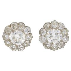 6 Carat Victorian Diamond Cluster Stud Earrings