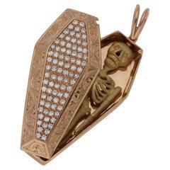 Diamonds Rose Gold Skeleton Coffin Pendant