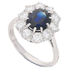 Vintage Sapphire and Diamond Engagement Cluster Ring