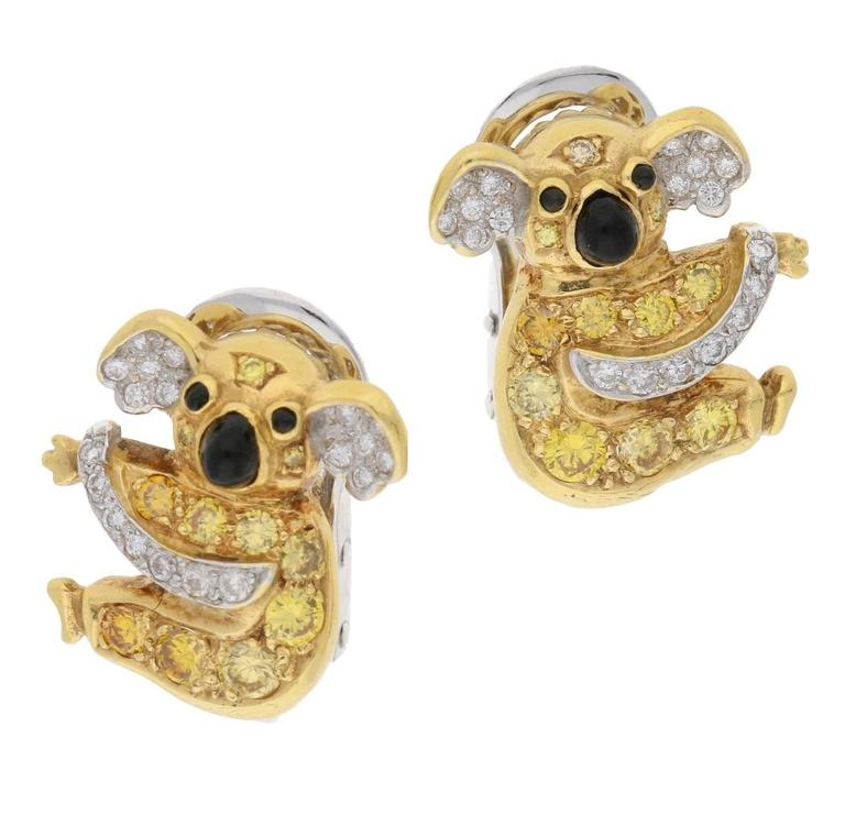 18 Karat Gold Koala Yellow Diamond Earrings For Sale