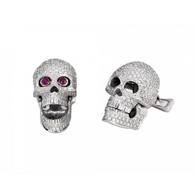 Diamond Ruby White Gold Skull Cufflinks