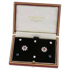 Interchangeable Earring Set with Diamond, Ruby, Sapphire in Gold