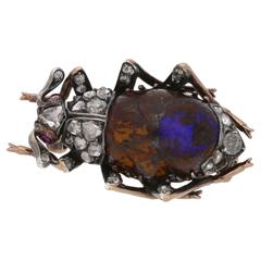 Victorian Opal Diamond Insect Brooch in Gold