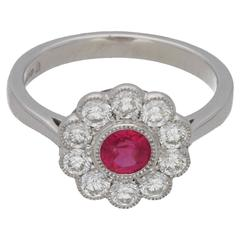 Ruby Diamond Daisy Cluster Engagement Ring