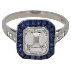 Emerald-Cut 2.03ct  Diamond and Sapphire 1.66ct Target Engagement Ring Platinum