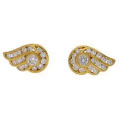 Diamond Set Gold Wing Stud Earrings