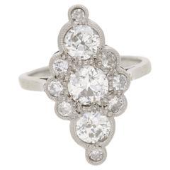 1940s Marquise Shaped Diamond Platinum Ring