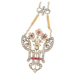 1880s Ottoman Style Diamond Ruby Necklace in Gold