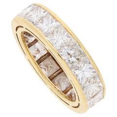 8.46 Carat Princess Cut Diamond Eternity Ring in Gold
