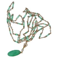 1870s Victorian Pearl and Emerald Lond Sautoir Necklace