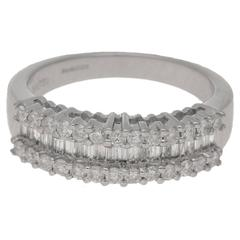 Baguette with Round Brilliant Cut Diamond Half Eternity Ring