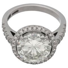 3.75 Carat Diamond Platinum Cluster Engagement Ring