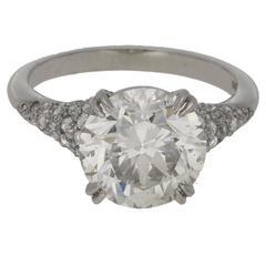 4.28 Carat European Cut Diamond Platinum Engagement Ring