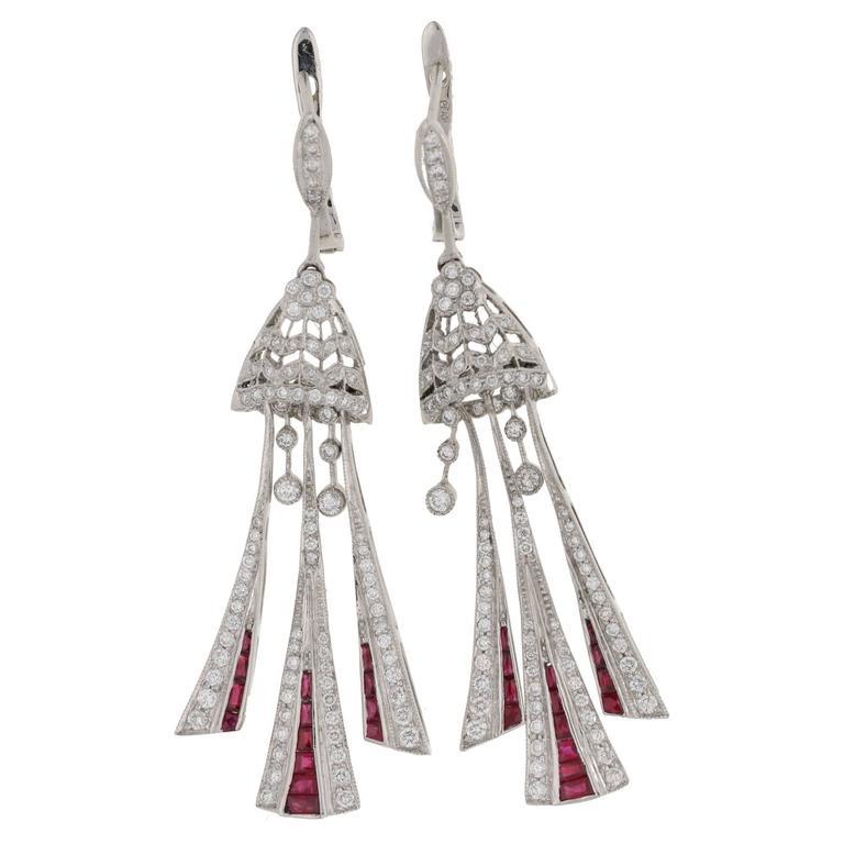Ruby Diamond Platinum Long Drop Earrings