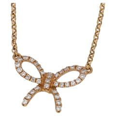 Diamond Set Rose Gold Bow Necklace