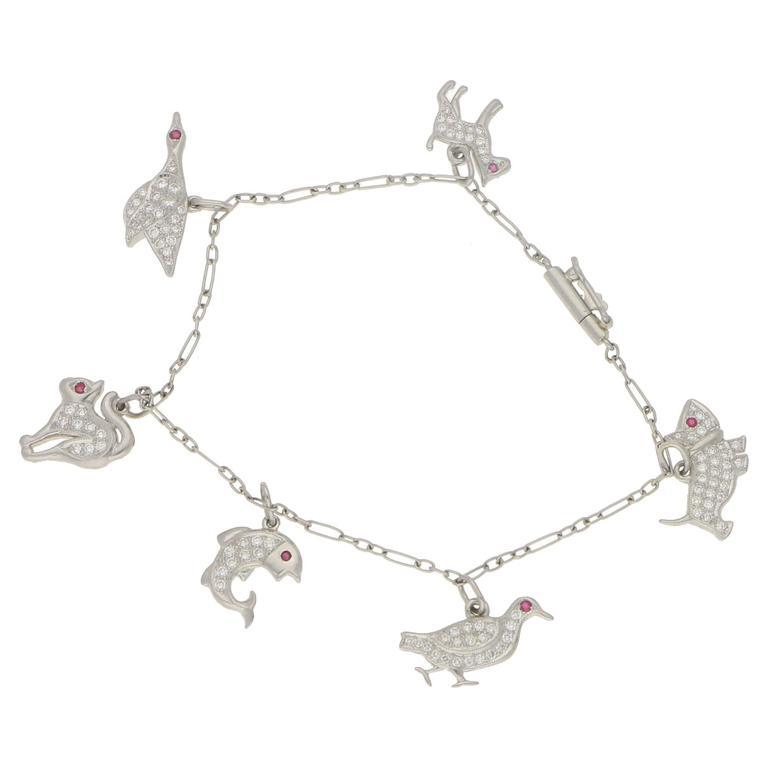 1950s Diamond Ruby Set Platinum Charm Bracelet