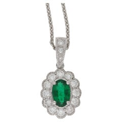 Oval Cut Emerald and Diamond Cluster Pendant on Chain
