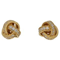 18 Karat Yellow Gold Diamond Set Knot Earrings