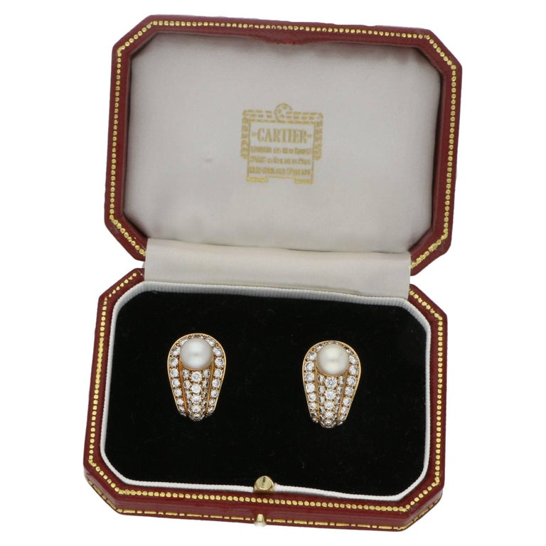 Cartier Pearl Diamond Gold Clip Earrings