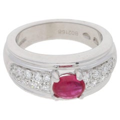 Boucheron Diamond Ruby Platinum Ring