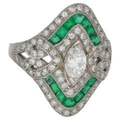 Emerald Diamond Marquise Shield Ring