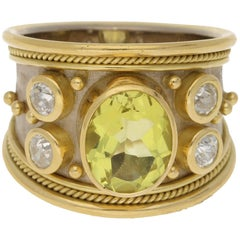 Elizabeth Gage 18 Karat Etruscan Ring with Lemon Quartz