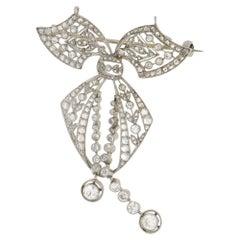 Edwardian Diamond Bow Brooch Pendant