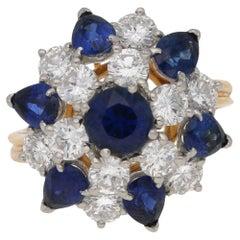 Oscar Heyman Diamond Sapphire Cluster Cocktail Ring