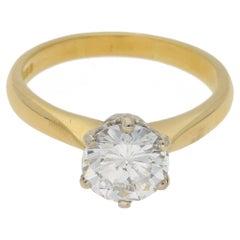1.55 Carat Single Stone Diamond Gold Engagement Ring