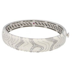 Gold Roberto Coin White Enamel Diamond Bangle