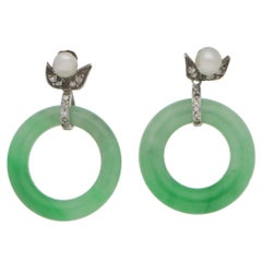 1930s Jade Diamond Hoop Drop Earrings