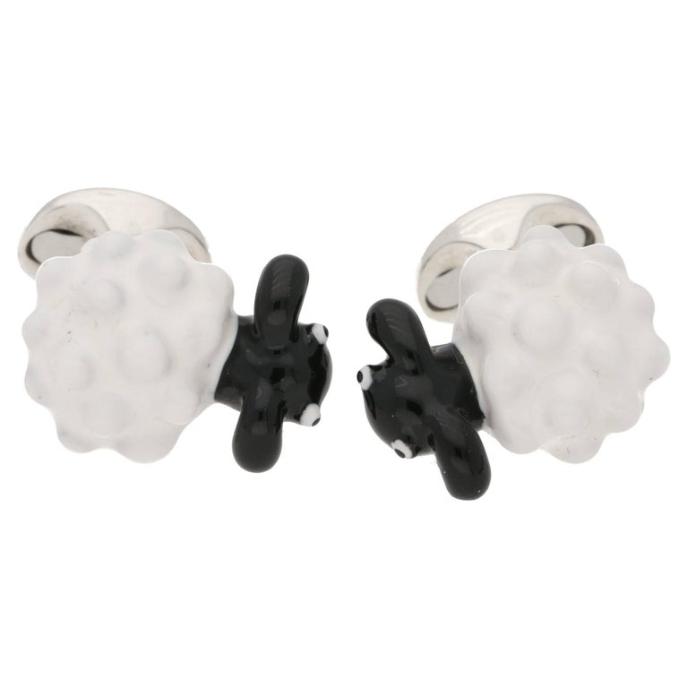 Enamel Silver Sheep Cufflinks