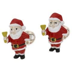 Santa Enamel Silver Cufflinks