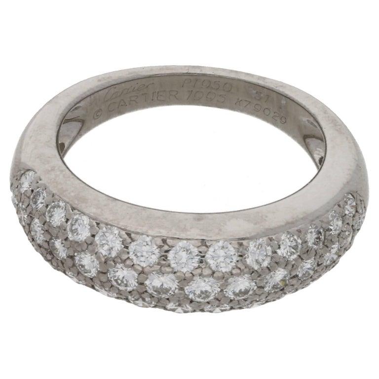 Cartier Platinum Pave Diamond Half Eternity Ring