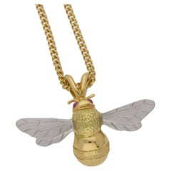 Gold Bee Pendant with Ruby Eyes on Chain