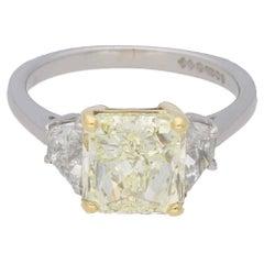 3.51 Carat Radiant Cut Yellow Diamond Engagement Ring