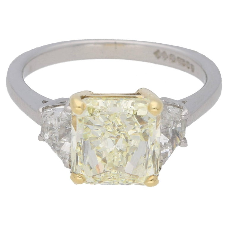 351 carat radiant cut yellow diamond engagement ring for